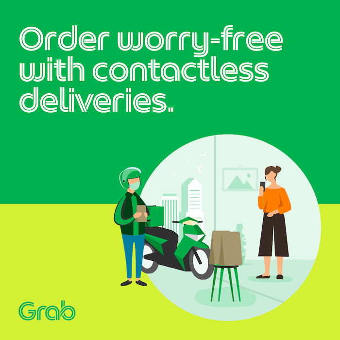 contactless delivery by Grab